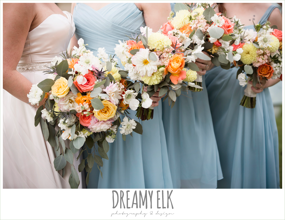 Plans n' Petals wedding bouquet, bill levkoff bridesmaid dress in glacier blue, sweetheart strapless justin alexander wedding dress in sand color, colorful outdoor sunday morning brunch wedding, hyatt hill country club, san antonio wedding photo {dreamy elk photography and design}