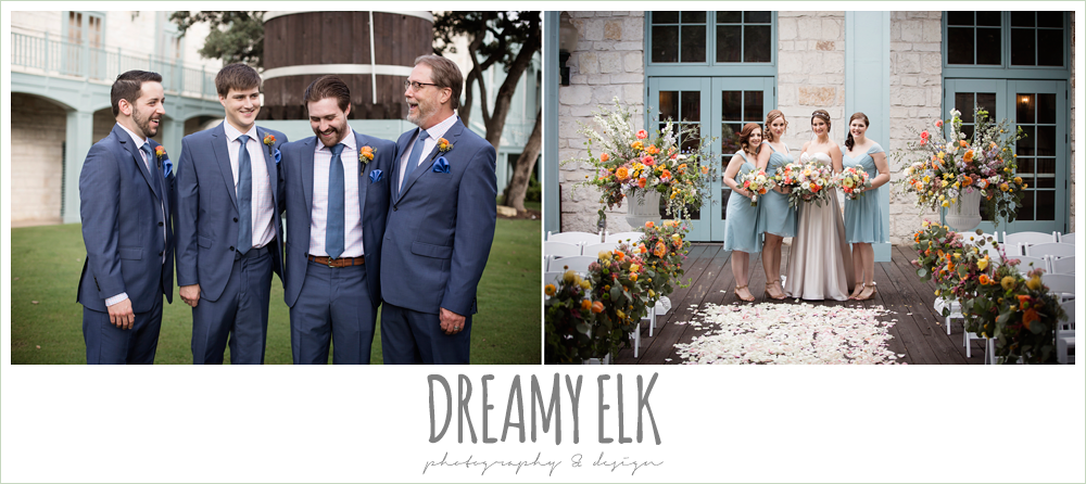 groom in men's wearhouse navy suit pink shirt and navy tie, bill levkoff bridesmaid dress in glacier blue, sweetheart strapless justin alexander wedding dress in sand color, groom and groomsmen, bride and bridesmaids, colorful outdoor sunday morning brunch wedding, hyatt hill country club, san antonio wedding photo {dreamy elk photography and design}