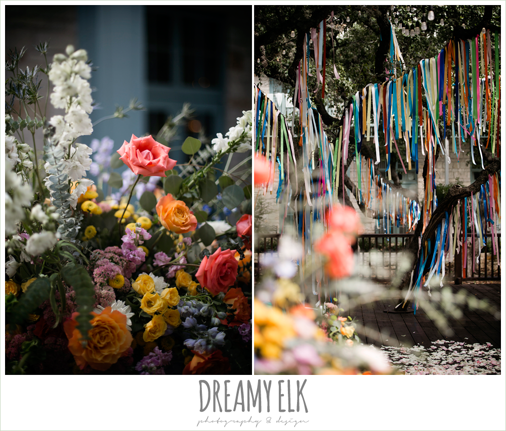 colorful streamers in trees ceremony decorations, Plans n' Petals wedding bouquet, ceremony flower arrangements, colorful outdoor sunday morning brunch wedding, hyatt hill country club, san antonio wedding photo {dreamy elk photography and design}