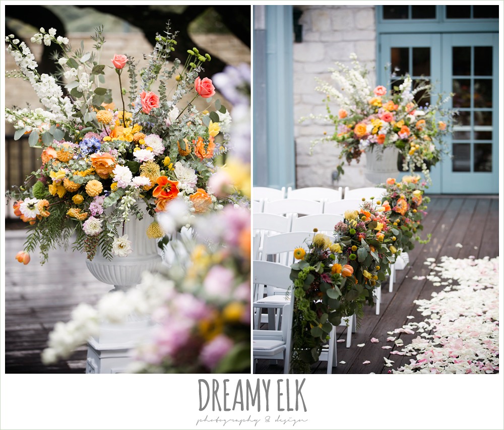 Plans n' Petals wedding bouquet, ceremony altar flower arrangements, colorful outdoor sunday morning brunch wedding, hyatt hill country club, san antonio wedding photo {dreamy elk photography and design}