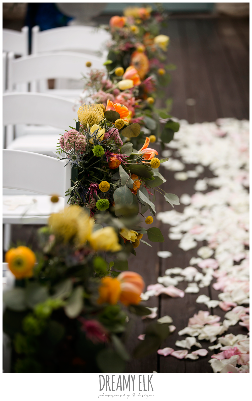 Plans n' Petals wedding bouquet, ceremony chair flower decorations, arrangements, colorful outdoor sunday morning brunch wedding, hyatt hill country club, san antonio wedding photo {dreamy elk photography and design}