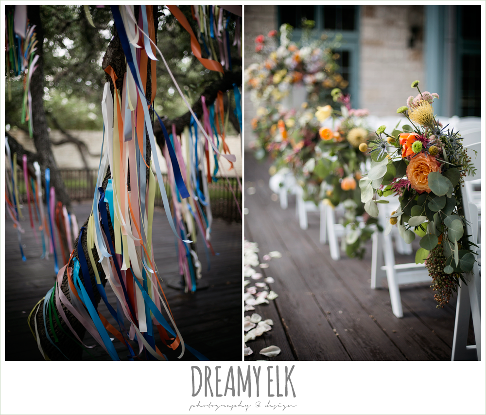 colorful streamers in trees ceremony decorations, Plans n' Petals wedding bouquet, ceremony chair flower arrangements, colorful outdoor sunday morning brunch wedding, hyatt hill country club, san antonio wedding photo {dreamy elk photography and design}