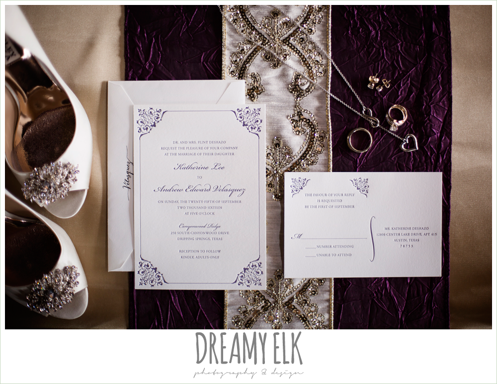 purple and gold wedding invitation, canyonwood ridge, dripping springs, texas, photo {dreamy elk photography and design}