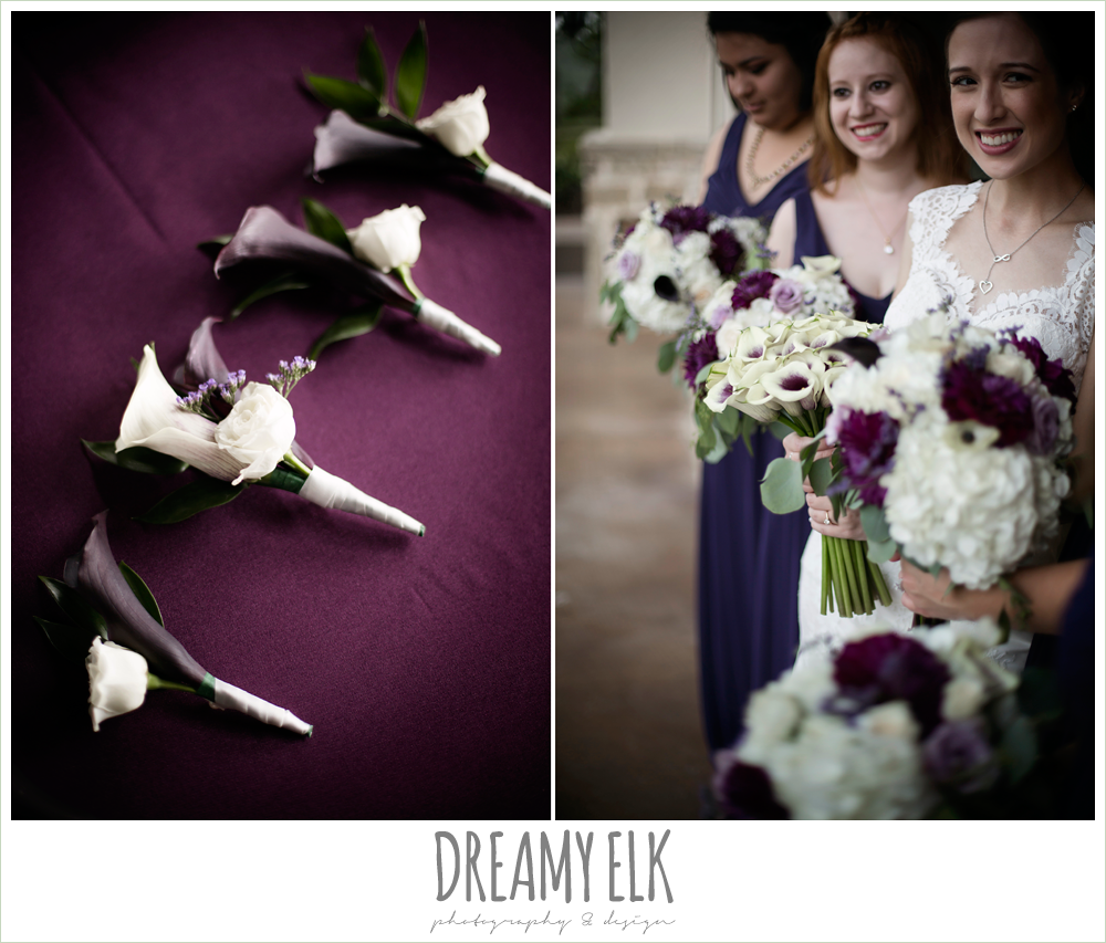 boutonnieres, purple and white bouquets, purple and gold wedding, fall rainy wedding, canyonwood ridge, dripping springs, texas, photo {dreamy elk photography and design}
