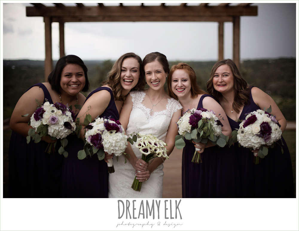 bride and bridesmaids laughing, purple and gold wedding, fall rainy wedding, canyonwood ridge, dripping springs, texas, photo {dreamy elk photography and design}