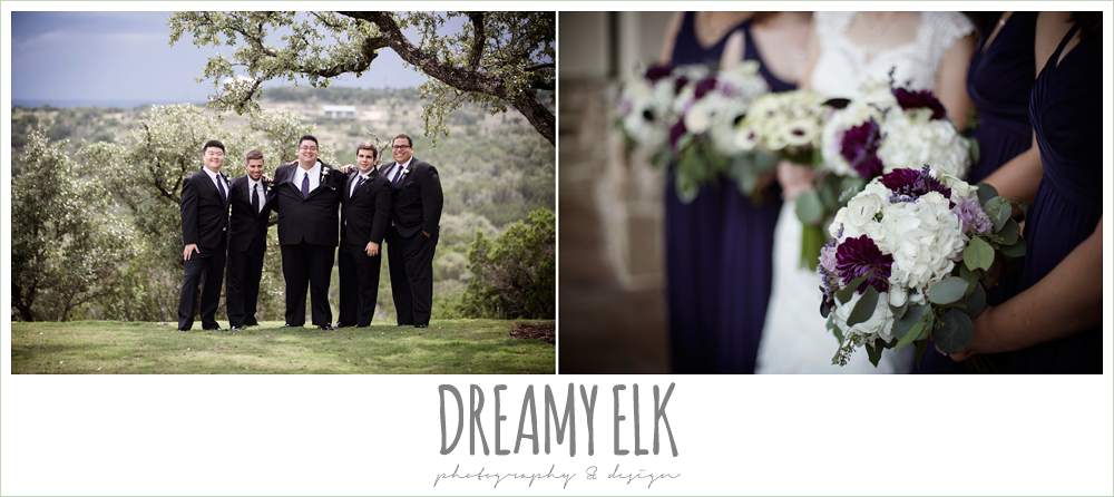 groom and groomsmen, purple and gold wedding, fall rainy wedding, canyonwood ridge, dripping springs, texas, photo {dreamy elk photography and design}