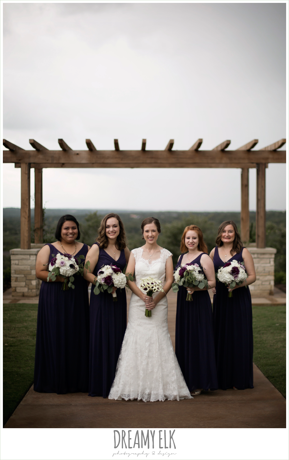 bride and bridesmaids, purple and gold wedding, fall rainy wedding, canyonwood ridge, dripping springs, texas, photo {dreamy elk photography and design}