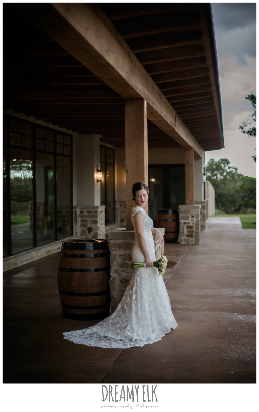 bride, lace wedding dress, purple and gold wedding, fall rainy wedding, canyonwood ridge, dripping springs, texas, photo {dreamy elk photography and design}