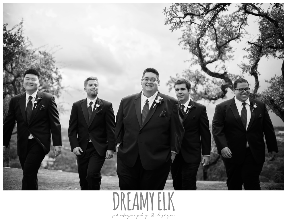groom and groomsmen laughing, purple and gold wedding, fall rainy wedding, canyonwood ridge, dripping springs, texas, photo {dreamy elk photography and design}