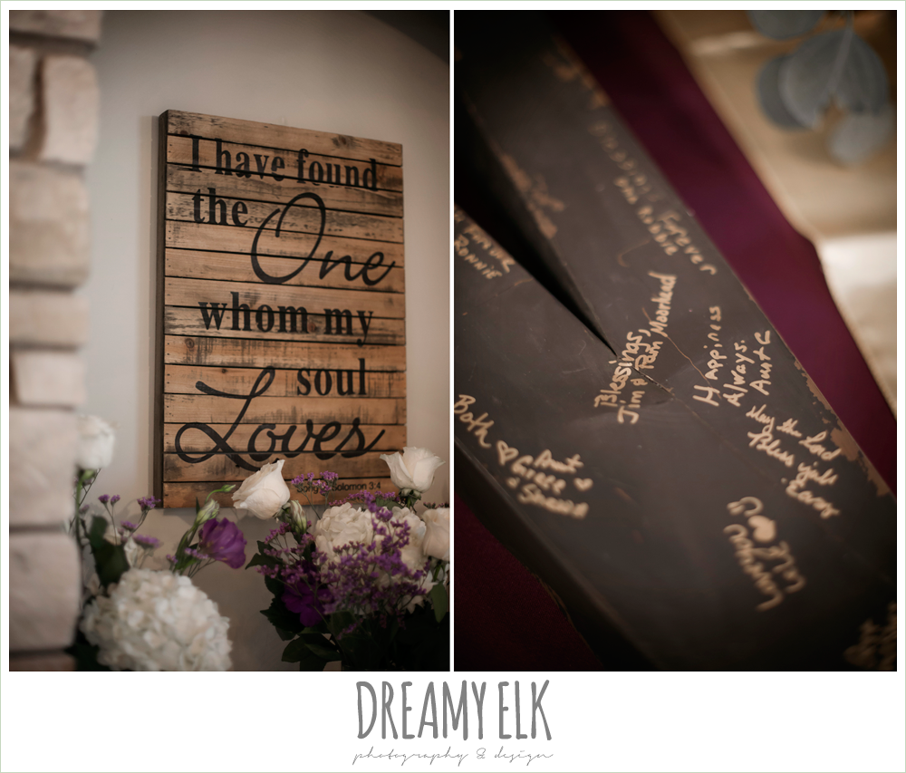 unique wedding guestbook, signage at wedding, purple and gold wedding, fall rainy wedding, canyonwood ridge, dripping springs, texas, photo {dreamy elk photography and design}