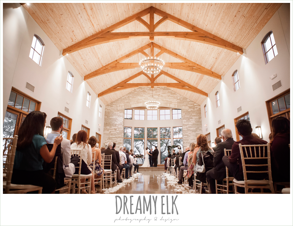 indoor wedding ceremony, purple and gold wedding, fall rainy wedding, canyonwood ridge, dripping springs, texas, photo {dreamy elk photography and design}