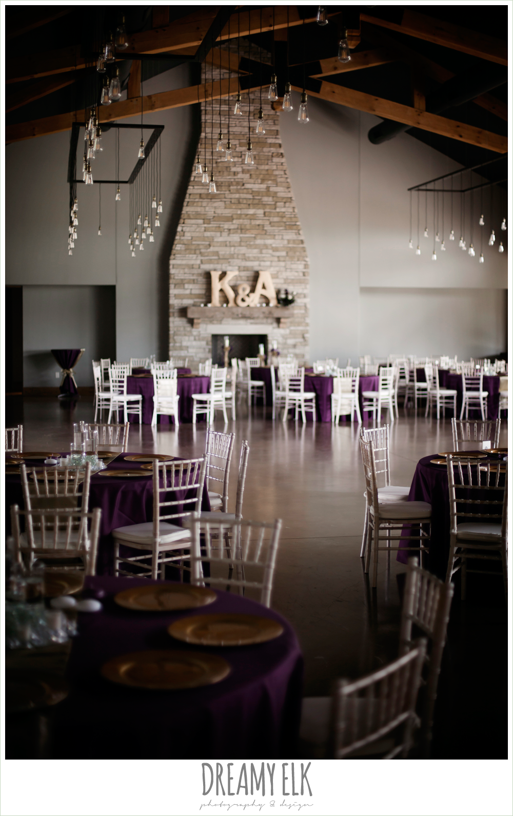 indoor wedding reception decor, purple and gold wedding, fall rainy wedding, canyonwood ridge, dripping springs, texas, photo {dreamy elk photography and design}
