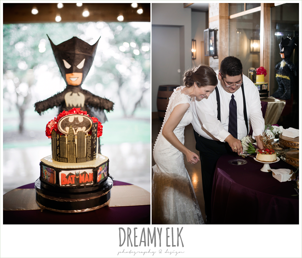 cutting the cake, batman wedding cake, indoor wedding reception, purple and gold wedding, fall rainy wedding, canyonwood ridge, dripping springs, texas, photo {dreamy elk photography and design}