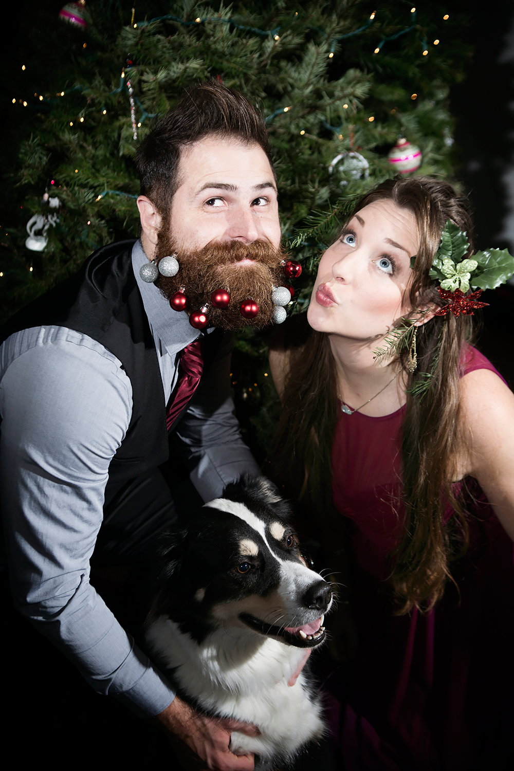 funny christmas photo with dog, formal christmas photo, ornaments in beard