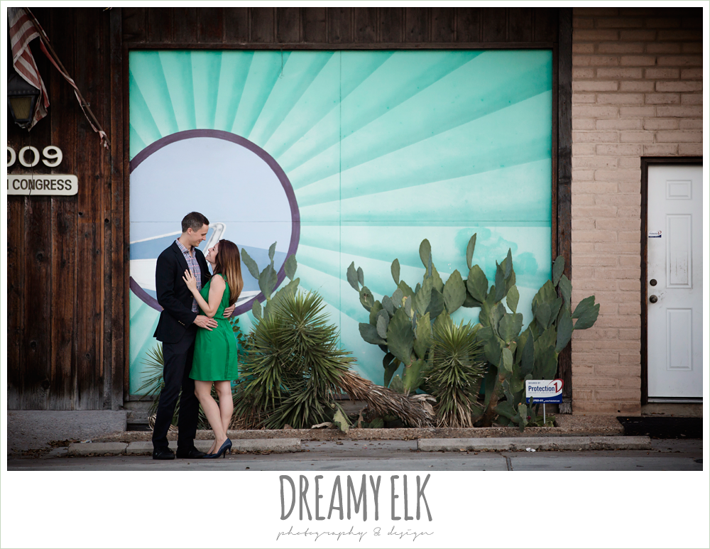 south congress avenue, downtown austin texas engagement photo, colorful, urban engagement photo {dreamy elk photography and design}