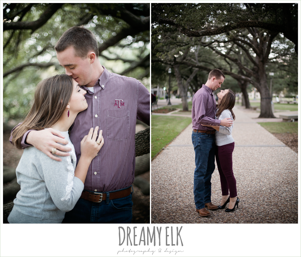 texas a&m university campus century tree fall outdoor college station engagement photo {dreamy elk photography and design}