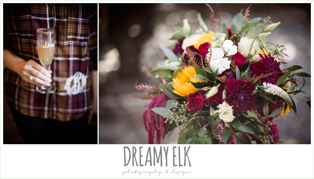 wild bunches floral, bridesmaid flannel monogram shirt, wedding day mimosa, fall wedding sunflower bouquet, fall wedding photo, la hacienda, dripping springs, texas {dreamy elk photography and design}