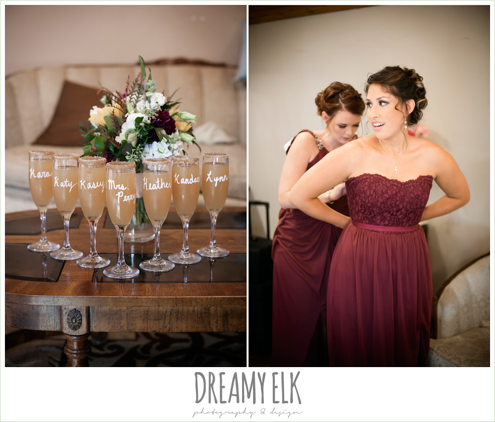 mix and match maroon long chiffon bridesmaid dresses, david's bridal, wild bunches floral, bridesmaid getting dressed, maroon and gold wedding, wedding day mimosa, maroon and gold fall wedding photo, la hacienda, dripping springs, texas {dreamy elk photography and design}