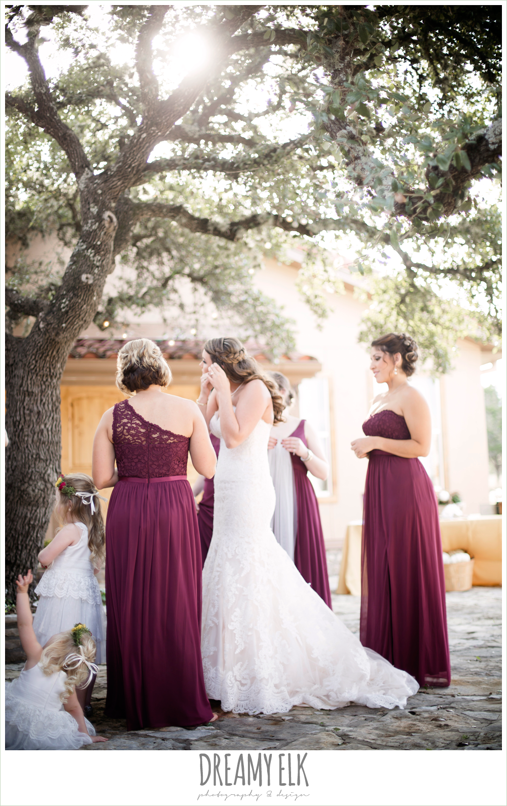 mix and match maroon long chiffon bridesmaid dresses, david's bridal, ventura's bridal fashions, sweetheart lace strapless fit and flare wedding dress, bride getting dressed, maroon and gold fall wedding photo, la hacienda, dripping springs, texas {dreamy elk photography and design}