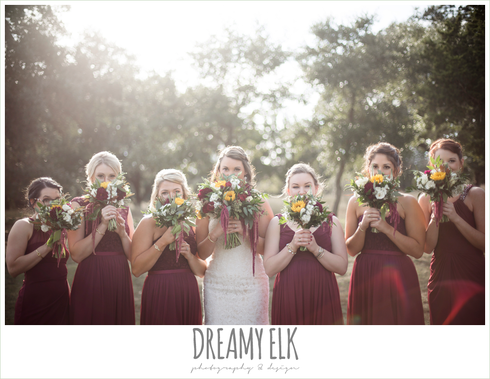 mix and match maroon long chiffon bridesmaid dresses, david's bridal, ventura's bridal fashions, sweetheart lace strapless fit and flare wedding dress, wild bunches floral, maroon and gold fall wedding photo, la hacienda, dripping springs, texas {dreamy elk photography and design}