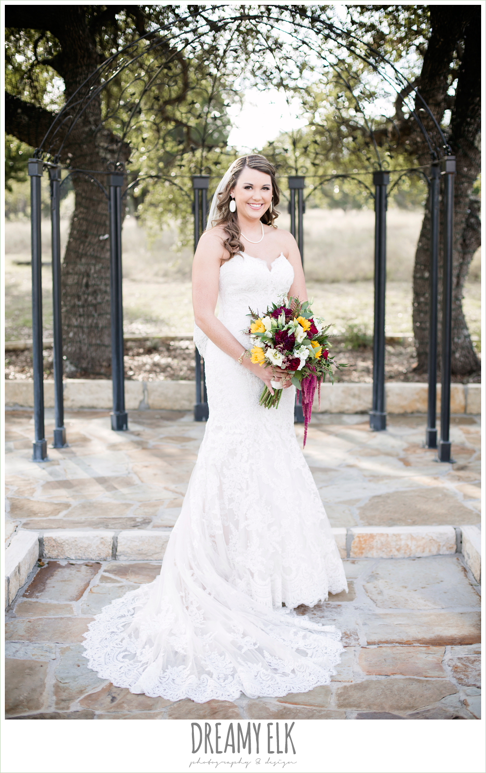 lustrebella, ventura's bridal fashions, sweetheart lace strapless fit and flare wedding dress, wild bunches floral, maroon and gold fall wedding photo, la hacienda, dripping springs, texas {dreamy elk photography and design}