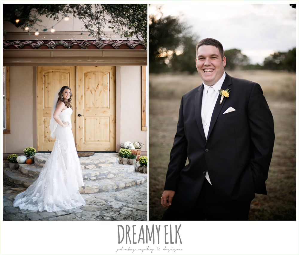 men's wearhouse, ventura's bridal fashions, sweetheart lace strapless fit and flare wedding dress, bride, groom, maroon and gold fall wedding photo, la hacienda, dripping springs, texas {dreamy elk photography and design}