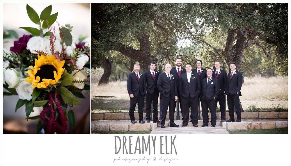men's wearhouse, wild bunches floral, groom, groomsmen, bridal party, wedding bouquet, maroon and gold fall wedding photo, la hacienda, dripping springs, texas {dreamy elk photography and design}