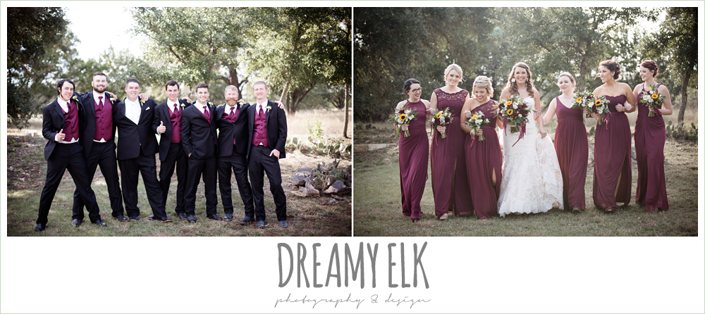 mix and match maroon long chiffon bridesmaid dresses, david's bridal, men's wearhouse, groom, groomsmen, bride, bridesmaids, bridal party, maroon and gold fall wedding photo, la hacienda, dripping springs, texas {dreamy elk photography and design}