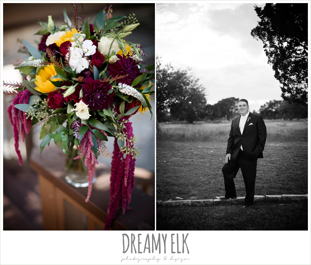 men's wearhouse, wild bunches floral, groom, maroon and gold fall wedding photo, la hacienda, dripping springs, texas {dreamy elk photography and design}