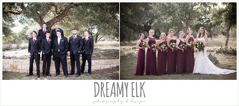 mix and match maroon long chiffon bridesmaid dresses, david's bridal, men's wearhouse, bride, bridesmaids, groom, groomsmen, bridal party, maroon and gold fall wedding photo, la hacienda, dripping springs, texas {dreamy elk photography and design}