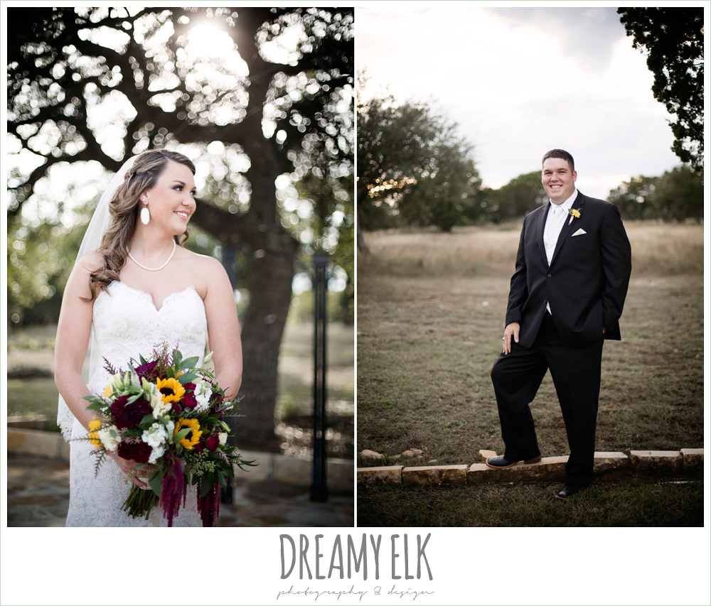 men's wearhouse, lustrebella, ventura's bridal fashions, sweetheart lace strapless fit and flare wedding dress, wild bunches floral, bride, groom, maroon and gold fall wedding photo, la hacienda, dripping springs, texas {dreamy elk photography and design}