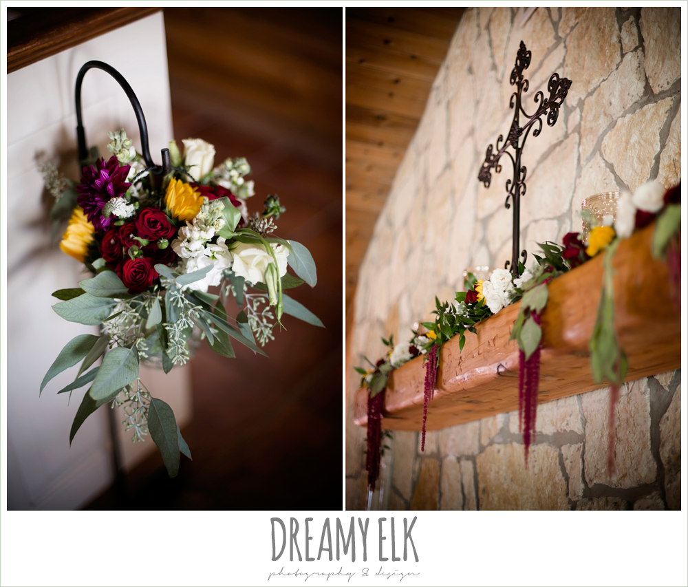 wild bunches floral, indoor fall chapel wedding, aisle marker, ceremony florals and arrangements, maroon and gold fall wedding photo, la hacienda, dripping springs, texas {dreamy elk photography and design}