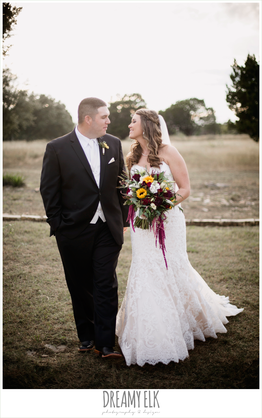 men's wearhouse, lustrebella, ventura's bridal fashions, sweetheart lace strapless fit and flare wedding dress, wild bunches floral, sunset bride and groom portraits, maroon and gold fall wedding photo, la hacienda, dripping springs, texas {dreamy elk photography and design}