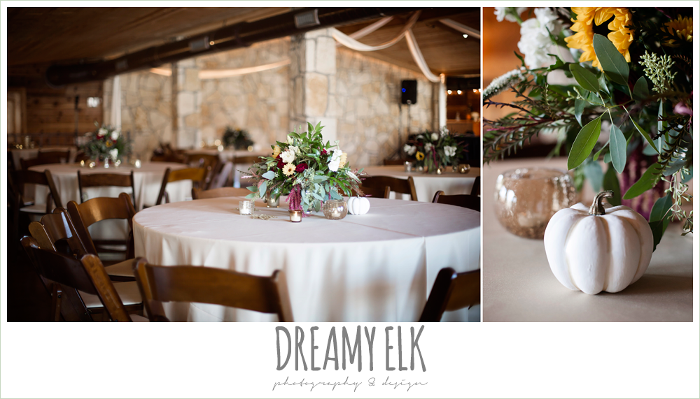 wild bunches floral, indoor wedding reception decor, table setting, table centerpiece, maroon and gold fall wedding photo, la hacienda, dripping springs, texas {dreamy elk photography and design}