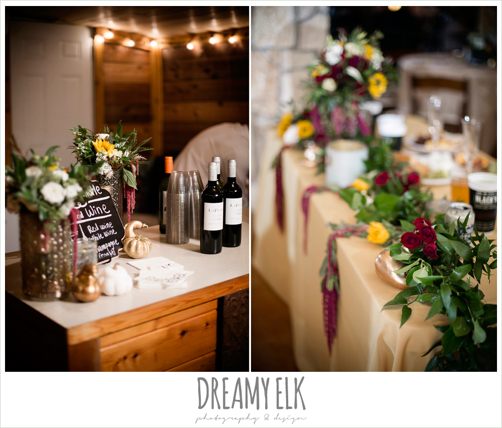 wild bunches floral, head table, sweetheart table, wine beer bar, indoor wedding reception decor, table setting, table centerpiece, maroon and gold fall wedding photo, la hacienda, dripping springs, texas {dreamy elk photography and design}