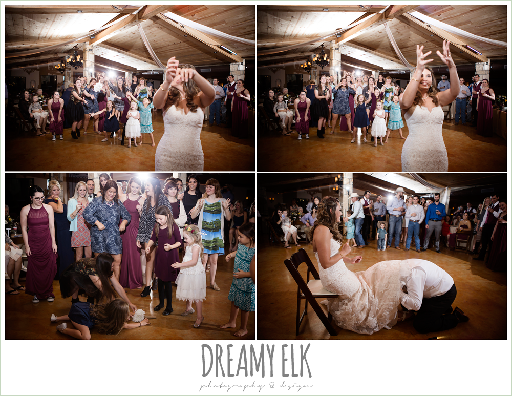 complete weddings dj, bouquet and garter toss, indoor wedding reception, maroon and gold fall wedding photo, la hacienda, dripping springs, texas {dreamy elk photography and design}