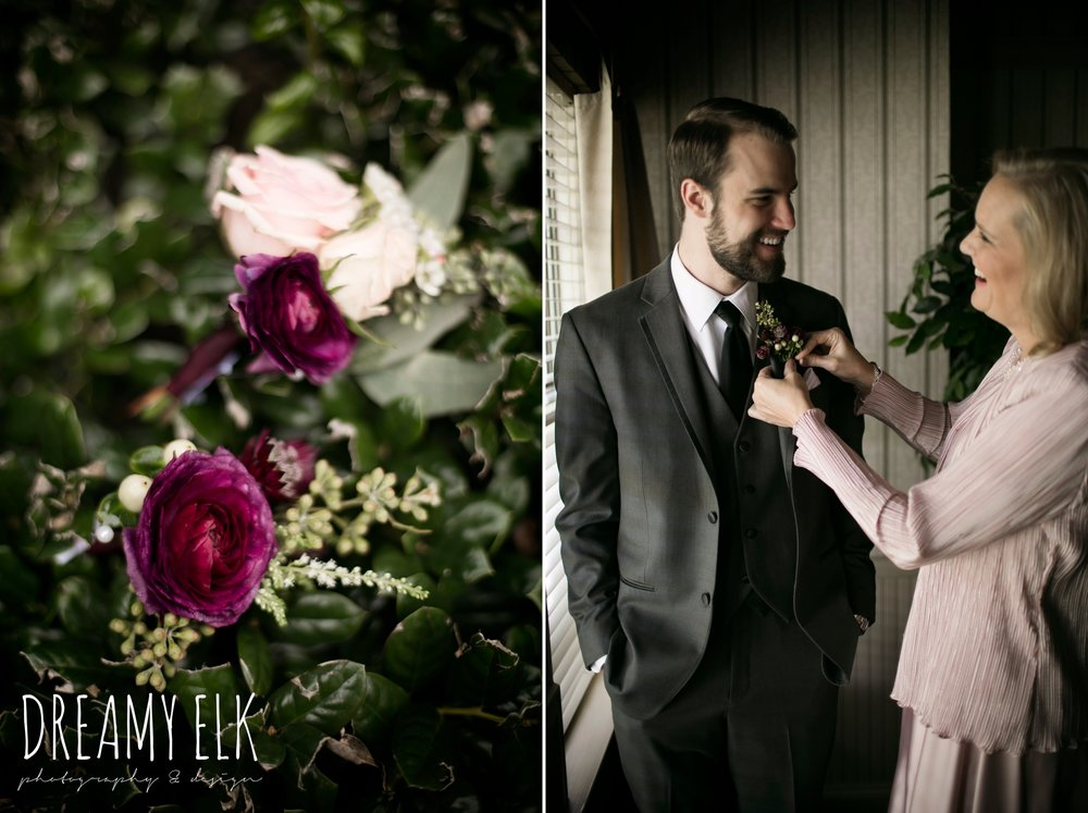 pink maroon winter wedding boutonniere, platinum petals, men's wearhouse gray tux, groom and mother, boutonniere, maroon and gray december winter wedding, bella donna chapel, mckinney, texas {dreamy elk photography and design}