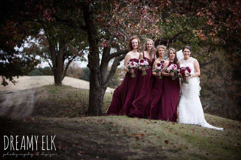pink maroon winter wedding bouquet, platinum petals, mix and match long maroon alfred angelo bridesmaid dresses, bride, casa blanca illusion lace wedding dress with button from lulus bridal, maroon december winter wedding, bella donna chapel, mckinney, texas {dreamy elk photography and design}