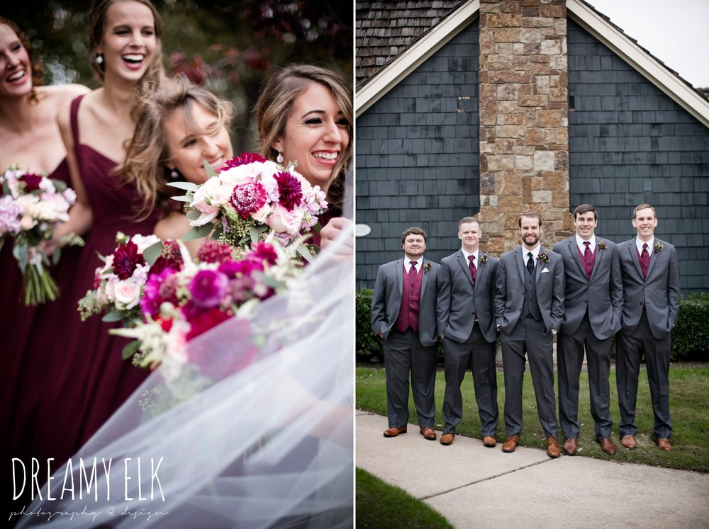 pink maroon winter wedding bouquet, platinum petals, groom and groomsmen men's wearhouse gray tux, mix and match long maroon alfred angelo bridesmaid dresses, maroon december winter wedding, bella donna chapel, mckinney, texas {dreamy elk photography and design}