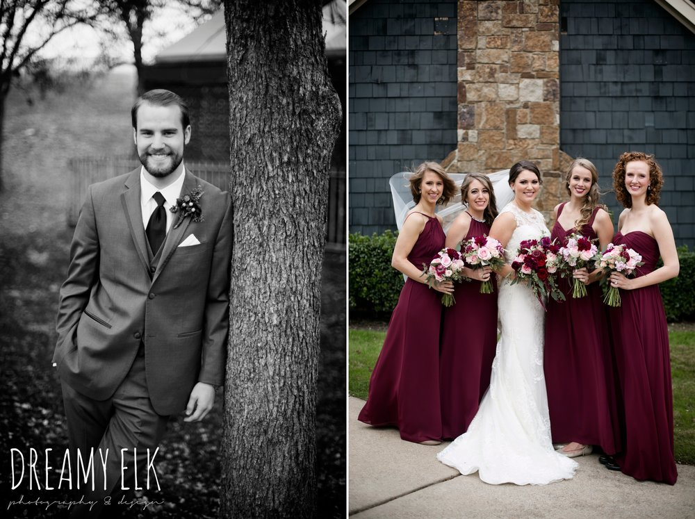 pink maroon winter wedding bouquet, platinum petals, groom men's wearhouse gray tux, mix and match long maroon alfred angelo bridesmaid dresses, bride, casa blanca illusion lace wedding dress with button from lulus bridal, maroon december winter wedding, bella donna chapel, mckinney, texas {dreamy elk photography and design}