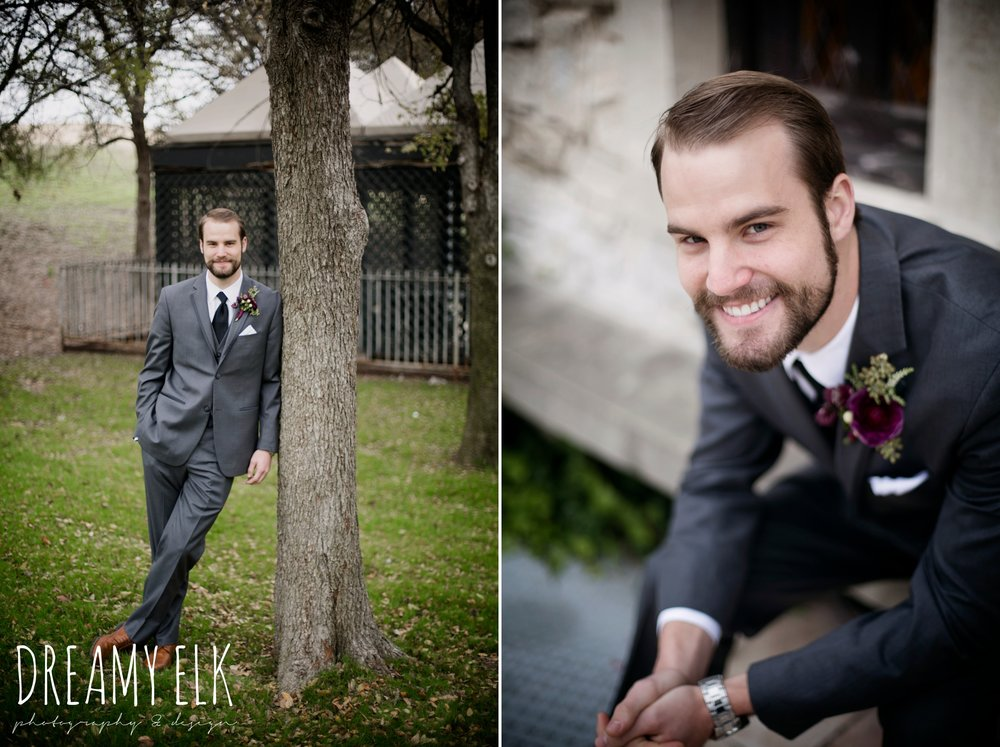 groom men's wearhouse gray tux, maroon december winter wedding, bella donna chapel, mckinney, texas {dreamy elk photography and design}