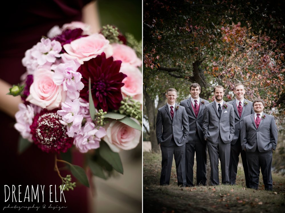 pink maroon winter wedding bouquet, platinum petals, groom and groomsmen men's wearhouse gray tux, maroon december winter wedding, bella donna chapel, mckinney, texas {dreamy elk photography and design}