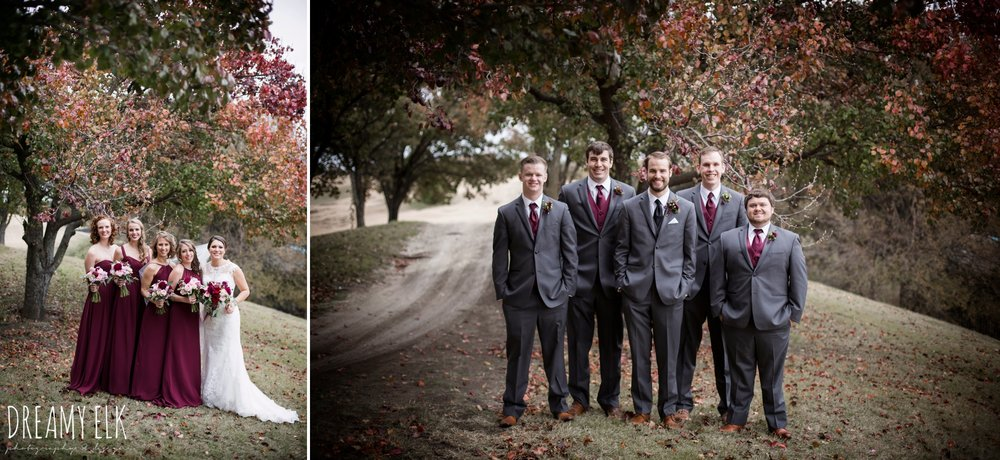 groom and groomsmen men's wearhouse gray tux, maroon december winter wedding, bella donna chapel, mckinney, texas {dreamy elk photography and design}