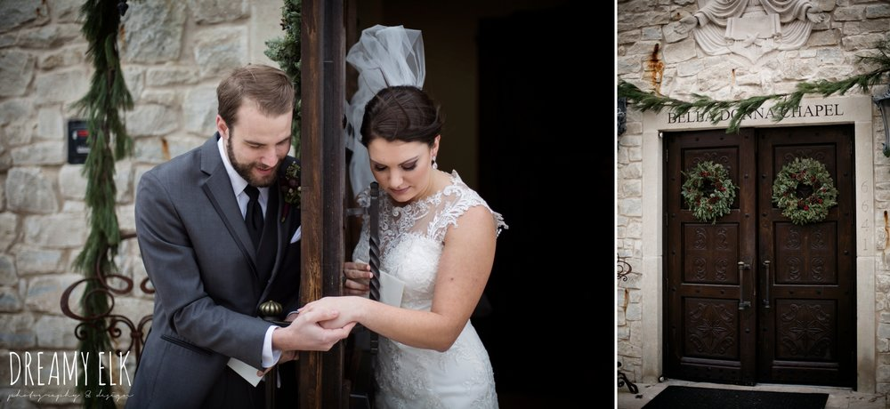 bride and groom holding hands around a door, bride, casa blanca illusion lace wedding dress with button from lulus bridal, maroon december winter wedding, bella donna chapel, mckinney, texas {dreamy elk photography and design}