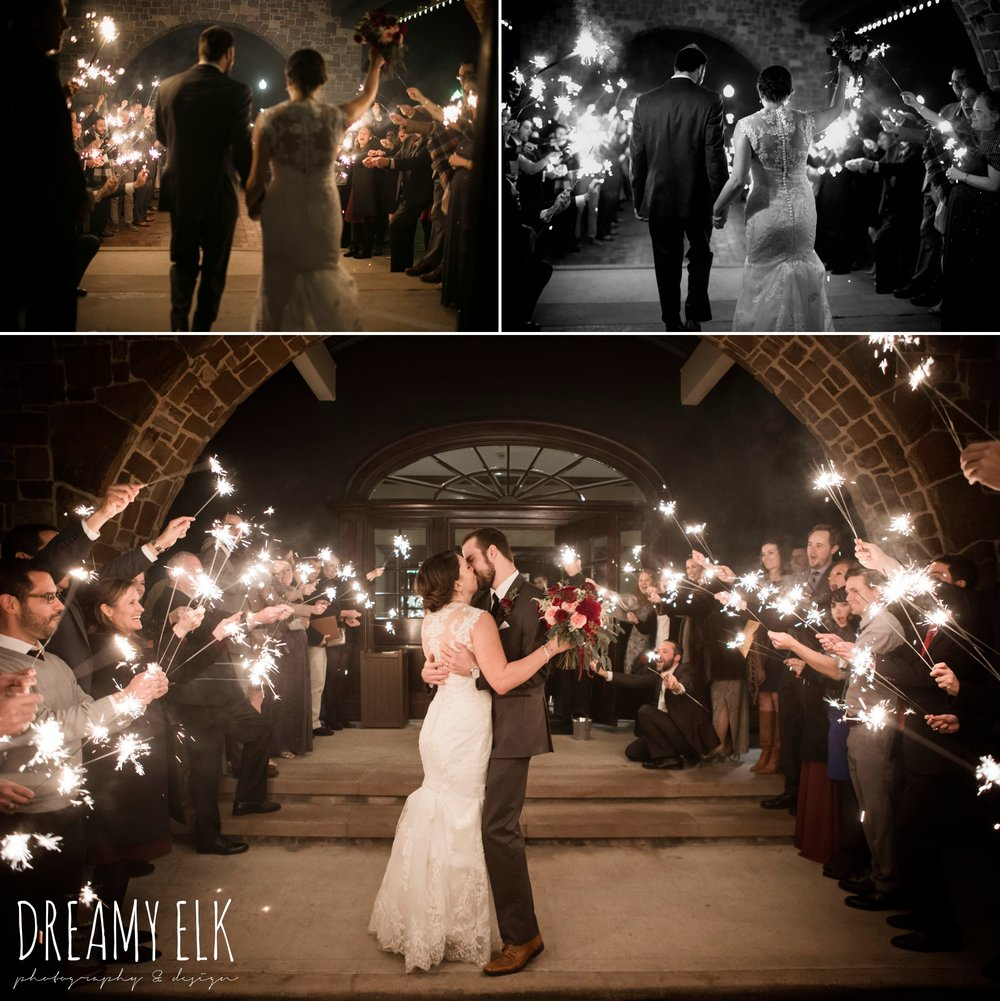 sparkler send off, bride and groom kissing, bride, casa blanca illusion lace wedding dress with button from lulus bridal, maroon december winter wedding, bella donna chapel, mckinney, texas {dreamy elk photography and design}