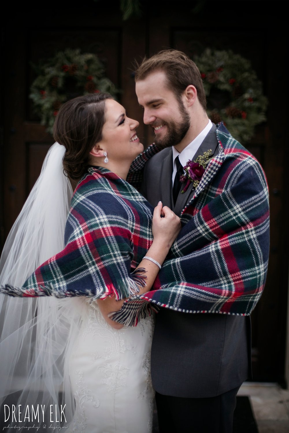 bride and groom wrapped up in a flannel blanket, casa blanca illusion lace wedding dress with button from lulus bridal, maroon december winter wedding, bella donna chapel, mckinney, texas {dreamy elk photography and design}