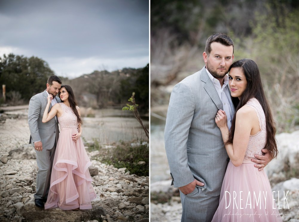 long pink dress, gray suit, dressy winter romantic anniversary photo shoot, bull creek park, austin, texas {dreamy elk photography and design}