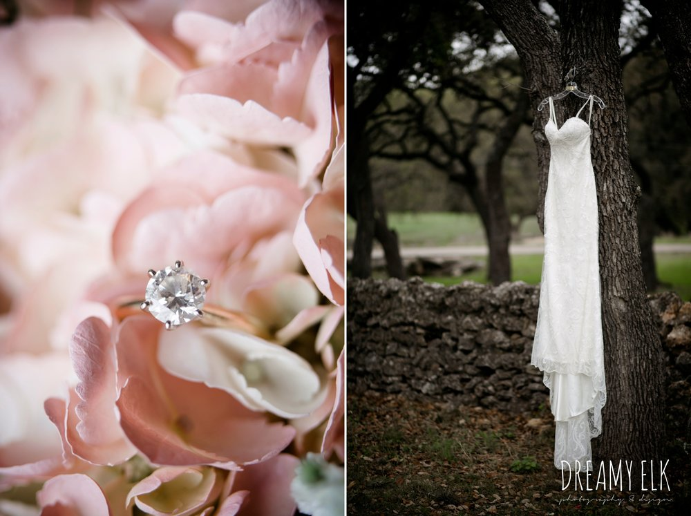 wedding dress hanging on a hangar, brides by elizabeth, solitaire diamond engagement ring, pink flowers, heb blooms, cloudy march wedding photo, canyon springs golf club wedding, san antonio, texas {dreamy elk photography and design}
