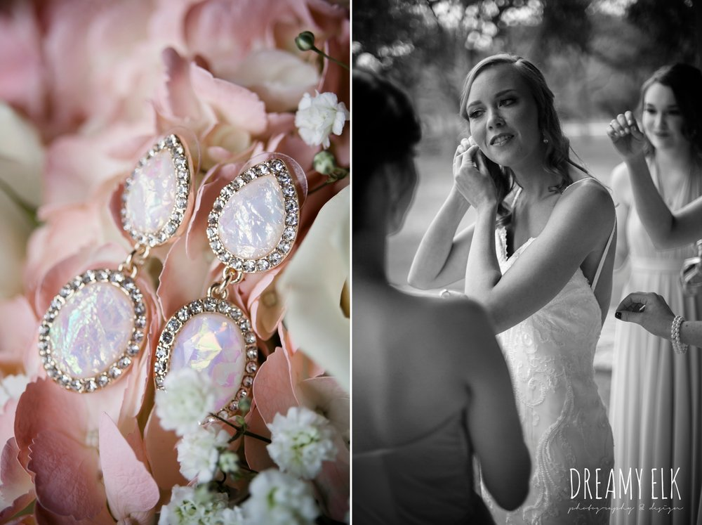 bride getting dressed, wedding jewelry, earrings, backless column sheath wedding dress, heb blooms, cloudy march wedding photo, canyon springs golf club wedding, san antonio, texas {dreamy elk photography and design}