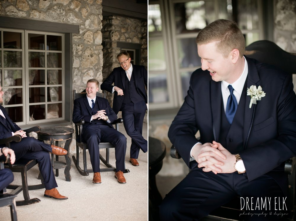 groom and groomsmen in navy suits, hanging out, cloudy march wedding photo, canyon springs golf club wedding, san antonio, texas {dreamy elk photography and design}